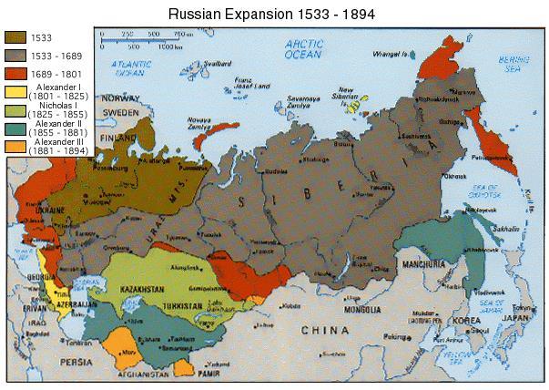 mapa širenja rusije